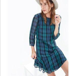 Madewell ruffle hem green plaid dress